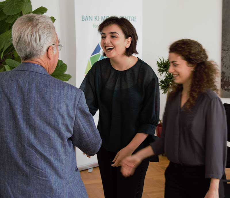 Rania and Nour meeting Former Austrian President Heinz Fischer at the Ban Ki-moon Centre for Global Citizens